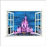 QTXINGMU Alte Prinzessin Schloss Night Star Sky 3D-Fenster Anzeigen Romantische Wall Sticker Für Kinder Zimmer Mädchen Schlafzimmer Dekoratives Wandgemälde