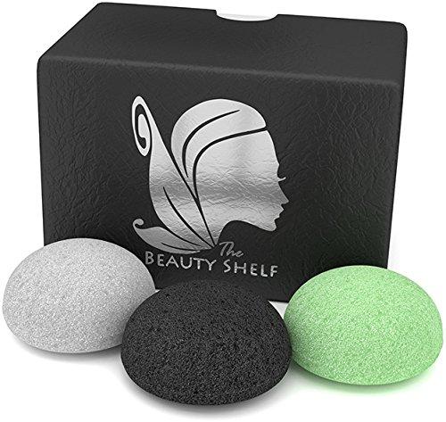The Beauty Shelf Lot de 3 éponges Konjac au charbon de bambou activé, au thé vert ou naturelle pour le visage Forme hémisphérique