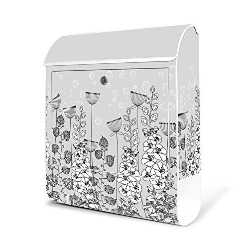banjado-cassetta delle lettere in acciaio bianco con scomparto per giornali 38x 45x 11cm posta Motiv VIALI Rand