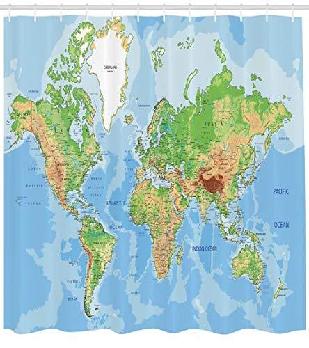 Abakuhaus Duschvorhang, Globale Weltkarte Atlas Klassische Landkarte Nationalatlanten Geografie Bild Design Druck, Wasser und Blickdicht aus Stoff mit 12 Ringen Schimmel Resistent, 175 X 200 cm