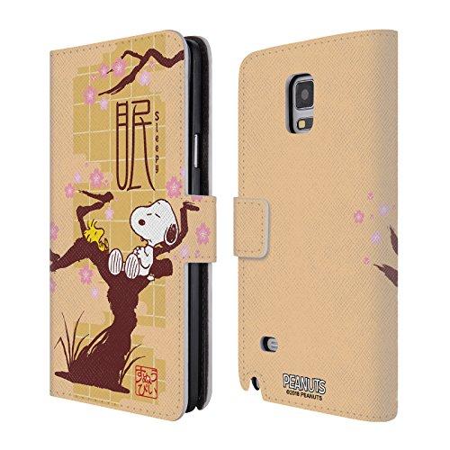 Head Case Designs Offizielle Peanuts Müde Orientalischer Snoopy Leder Brieftaschen Huelle kompatibel mit Samsung Galaxy Note 4 (Galaxy 4 Note Samsung Snoopy Hülle)