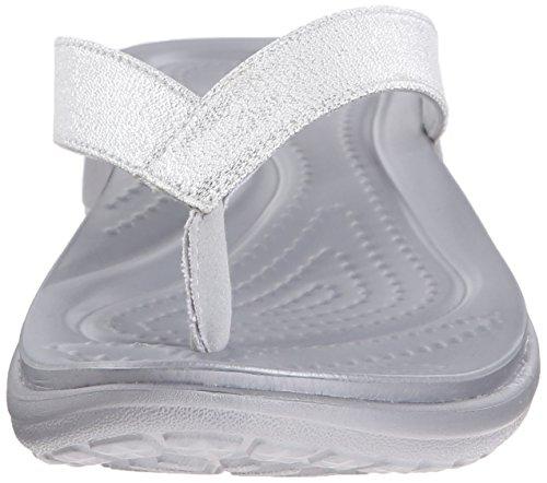 Crocs Women's Capri V Shimmer Croslite Toe Post Flip Flop Black Grey