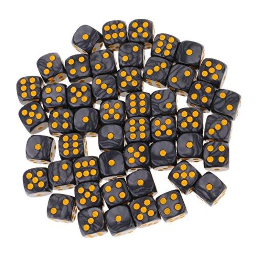 MagiDeal 50er-Set Transparenter D6 Sechsseitig Würfel für Brettspiel - Schwarz Farbige Sechs-seitige Würfel