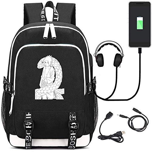 UKHTRED Naruto Drucken Lässiger Daypack Passen zum 15,6 Zoll Computer mit USB Aufladen Hafen/Kopfhörerloch Laptop Rucksack,Black (Passen Naruto)