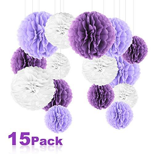 15 Stück Seidenpapier Pompoms, Nasharia Blumen Ball Dekorpapier Kit für Geburtstag Hochzeit Baby Dusche Parteien Hauptdekorationen und Partei Dekoration -(Violett Lavendel Weiß) -