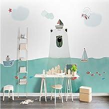 Lion Papel pintado Dormitorio Nórdico Cuarto de Niños Mural Verde s Niños Niñas Oso de dibujos animados creativo , B , 150x105 cm