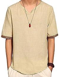 Kasen Hombre Camiseta Básica Manga Corta Camisa De Sin Cuello