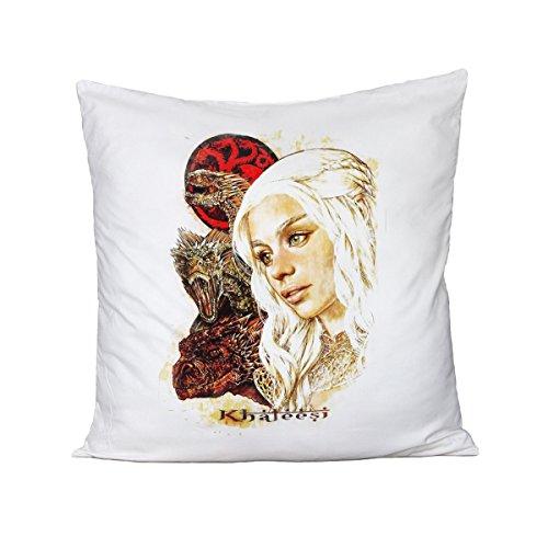 bubbleshirt Kissen Game of Thrones Khaleesi-Der Thron von Schwertern-Serie TV-Idee Geschenk-aus Baumwolle, Bianco, (Tv Serien Ideen)