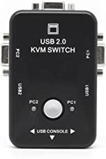 Farraige Latest Manual 2 Port USB 2.0 KVM VGA Switch Box for 2 PC Printer Mouse Keyboard Monitor