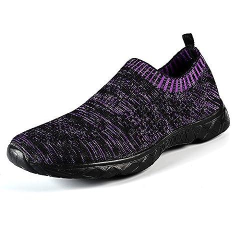 QANSI Damen Aquaschuhe Wasserschuhe Slip on Laufschuhe Strandschuhe Atmungsaktiv Schnell Trocknend Schuhe