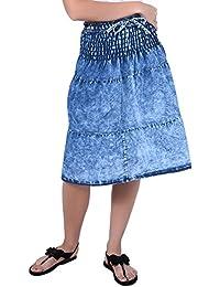 FRANCLO Women's Denim Short Skirt (Best fit 28-34 Waist)