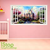 1Stop Graphics Shop - FAIRY TALE CASTLE WINDOW WALL STICKER FULL COLOUR - BOYS GIRLS WALL ART C372 - Size: Medium
