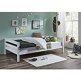 Lomado Einzelbett Buche massiv weiß lackiert ● Liegefläche 90x200cm ● Jugendbett Gästebett Einzelbett