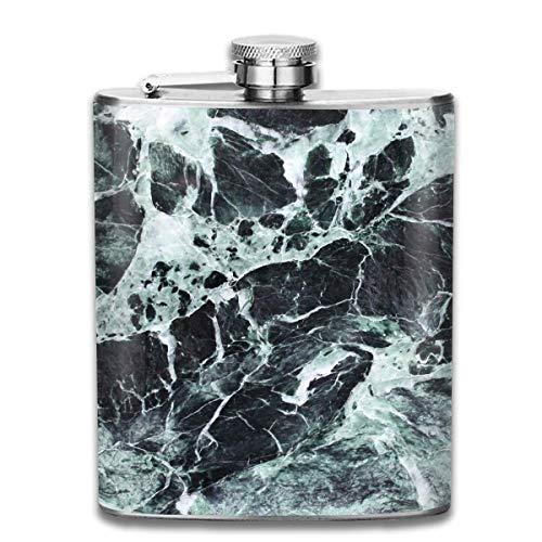 Marble Black Green Detail Fashion Portable 304 Stainless Steel Leak-Proof Alcohol Whiskey Liquor Wine 7OZ Pot Hip Flask Travel Camping Flagon for Man Woman Flask Great Little Gift (Bulk Gravierte Gläser)