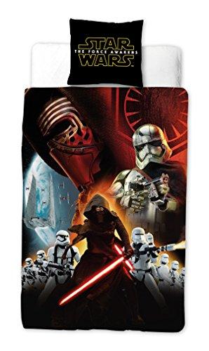 Vamos 050377 Star Wars Housse de Couette 140 x 200 cm + Taie d'Oreiller 60 x 70 cm Coton Noir/Blanc/Rouge