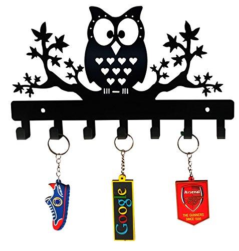 HeavenlyKraft Steel Owl on Maple Trees Key Holder (Black)