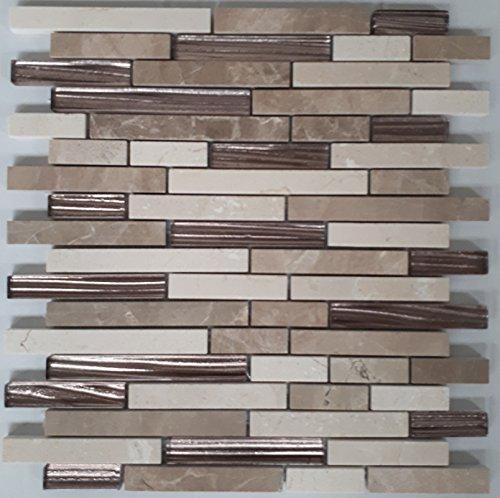 Naturstein Glas Matte Fliesen 30x30 cm Mosaik Braun Beige Mix Marmor Glasmosaik - Marmor-matte
