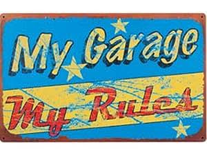 Man Cave Mon Garage My règles Plaque murale humoristique en métal