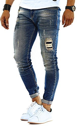 Leif Nelson Herren Jeans Hose Slim Fit Denim Blaue graue Lange Jeanshose für Männer Coole Jungen weiße Stretch Freizeithose Schwarze Cargo Chino Sommer Winter Basic LN9945BL Blau W32/L32