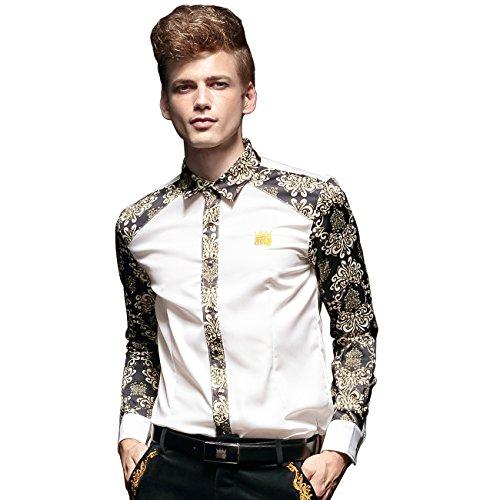 FANZHUAN Camicie Uomo Eleganti Maniche Lunghe Slim Fiori Classica Casual