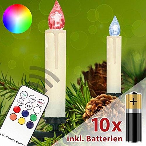 Homelux 10 RGB LED Weihnachtskerzen Christbaumbeleuchtung Fernbedienung Timer Kabellos mit Batterien - 10/20/30/40er Set - DEUTSCHER HÄNDLER