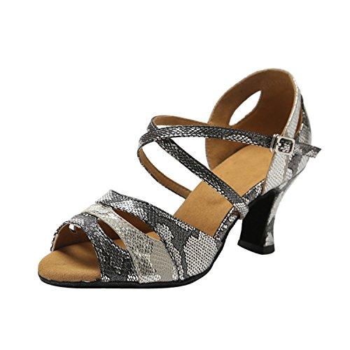 Minitoo , Damen Tanzschuhe Grey/Black-7cm Heel