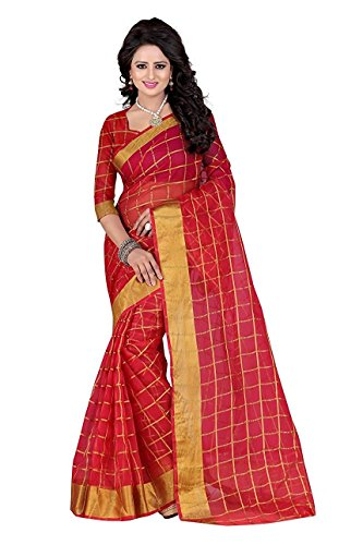I-Brand Red Color Poly Cotton Fabric Beautiful Border Saree ( Eid Special...