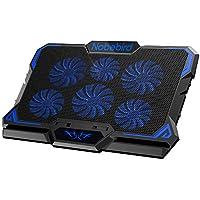 Base de Refrigeración para Ordenador Portátil, Base Portatil Gaming, 6 Potentes Ventiladores Ultra Silenciosos, Altura y Velocidad Ajustables, Luces LED Azules Frías, para Portátile de 12 -17 pulgadas