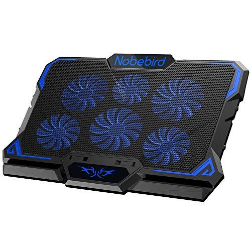 Laptop Kühler, Gaming Notebook Kühler mit 6 Ruhige Leistungsstarken Lüfter, Einstellbarer Höhe und Geschwindigkeit mit Coolen Blauen LED-Leuchten, Perfekt für 12-17 Zoll Laptop, Laptop Cooling Pad