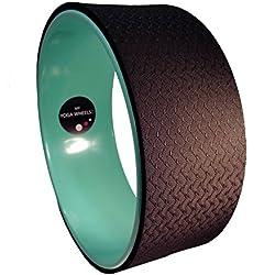 MyYogaWheels - Rueda de soporte para yoga y pilates (apoyo de la espalda al doblar o estirarla), color verde y negro
