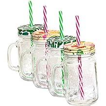 MC-Trend 4 vasos Tropical con tapa y pajita 2 Varios Motivos Cactus y Flamingo