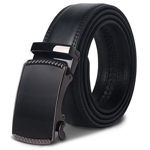 4c2f543e1ae4 Mens Leather Belt - M.R Black Genuine Leather Belt with Stylish Ratchet  Buckle 130CM