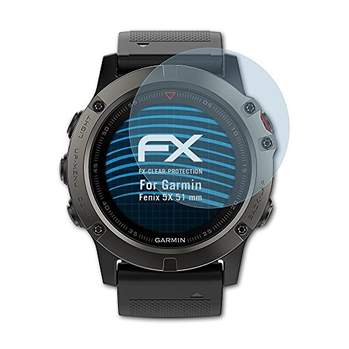 atFoliX Schutzfolie kompatibel mit Garmin Fenix 5X 51 mm Folie, ultraklare FX Bildschirmschutzfolie (3X)