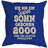 Geschenkidee zum 18 Geburtstag Polster Kissen mit Füllung Ich bin ein super Sohn geboren 2000 Polster zum 18. Geburtstag für 18-jähirge Dekokissen