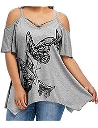 Camisetas Mujer Tallas Grandes,Camiseta de Mujer de Gran tamaño de la impresión