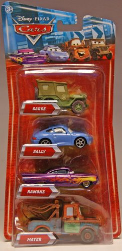 Preisvergleich Produktbild CARS Movie Exclusive 1:55 Die Cast 4-Pack : Sarge, Ramone, Mater , Sally - Disney / Pixar