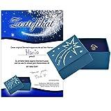 Echte Sternschnuppe in Geschenkbox mit Widmung zum Jahrestag, Hochzeitstag, Valentinstag - Meteorit mit Echtheitszertifikat und Taufzertifikat