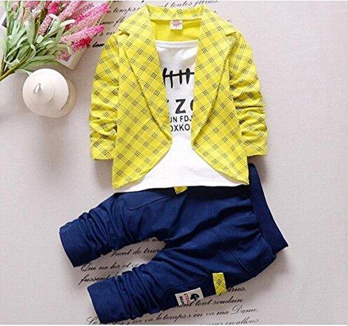 Frühling Herbst Kleinkind Baby Boy formelle Kleidung Fashion setzt neueste Jungen Kleider Anzug Kinder Kleidung, Gelb, 12 M (Jungen Anzüge Setzt)