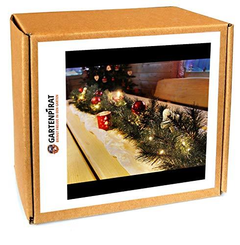 Girlande 180 cm beleuchtet mit 30 LED Lichterkette Batterie Spritzguss Weihnachten -
