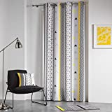 douceur d'intérieur rideau a oeillets 140x260 cm polyester yellow mix
