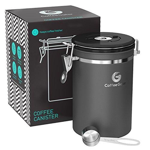 GROßE GRAUE KAFFEEDOSE - KAFFEEBEHÄLTER aus Edelstahl mit Deckel und Aromaverschluss - Vorratsdose...