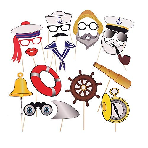 20 Stück Nautical Photo Booth Requisiten Navy Anchor Sailor Fotoautomat Hochzeit Kit auf Sticks Anker Party