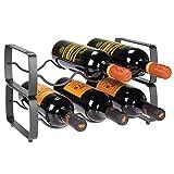mDesign Juego de 2 botelleros apilables - Estante para vino de metal con capacidad para 3 botellas - Mueble vinoteca manejable para botellas de vino u otras bebidas - gris oscuro