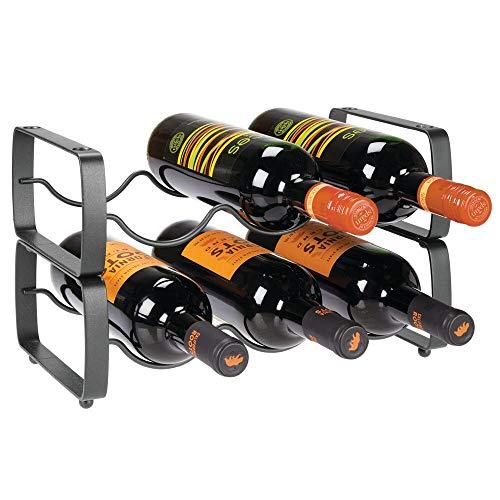 mDesign 2er-Set Flaschenregal - stapelbares Weinregal aus Metall für bis zu 3 Flaschen - handliches Regal für Weinflaschen oder andere Getränke - dunkelgrau