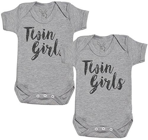Baby Bunny Twin niñas Regalo para Gemelos bebé, Body para Gemelos bebé niño, Body para Gemelos bebé niña - 0-3 Meses Gris
