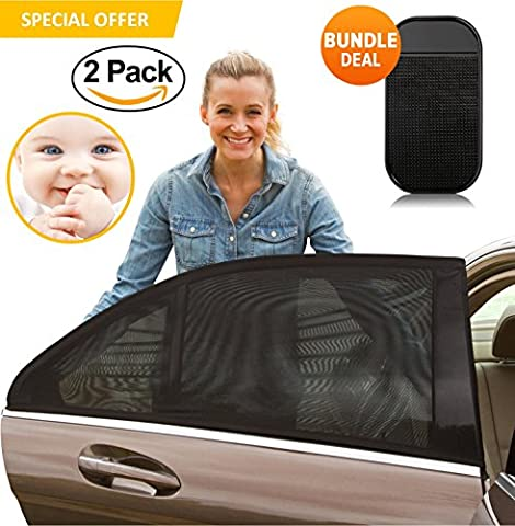 Universal Car Sun Shades Cover for Rear Side Window Provides Maximum UV Protection for Baby, and Children with UV Protection for Kids and Pets Premium Car Window Sun Cover Without Clings- BONUS Dashboard Anti Slip Mat