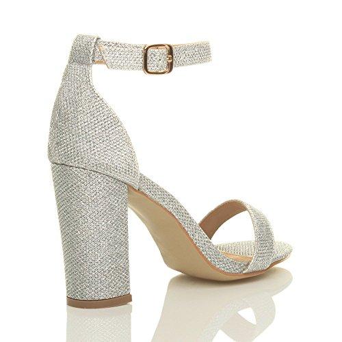 Femmes haute large talon chaussures bout ouvert sandales à lanières pointure Paillettes d'argent