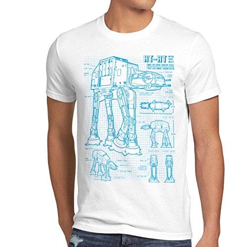 style3 AT-AT Herren T-Shirt blaupause walker, Größe:XXXL;Farbe:Weiß
