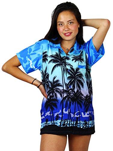 V.H.O. Funky Hawaiibluse, Hawaiihemd, Kurzarm, Beach, MONOBLAU, S - Womens Hawaiian-t-shirt