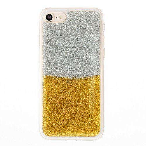 Custodia iPhone 7 / 8 Cover iPhone 7 / 8 Alfort Case Bicolor gradiente Morbida Silicone TPU Molle Impermeabile Prevenire Graffi Con polvere flash ( Argento - Rosa rossa ) Argento - Oro